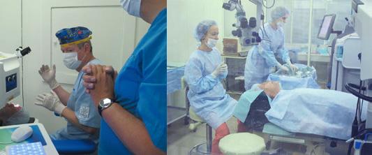Рисунок 1. Этапы факоэмульсификации с  фемтолазерным сопровождением: а  — фемтолазерный этап; б  — тот же пациент в полостной операционной через 2 минуты после проведения фемтолазерного этапа