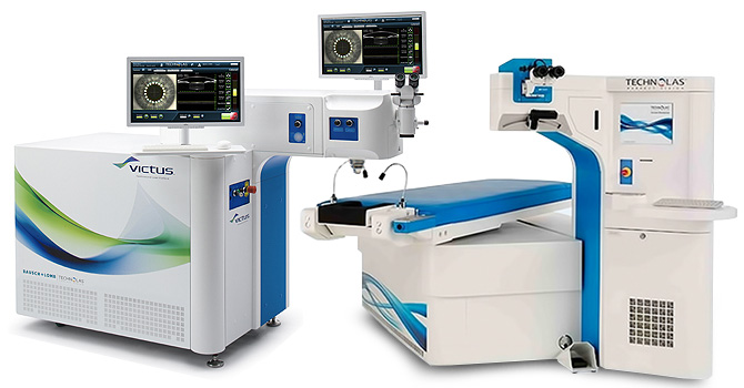 Оборудование для лазерной коррекции зрения — фемтосекундный лазер «VICTUS» и эксимерный лазер «Technolas» («Technolas Perfect Vision», «Bausch & Lomb», Германия, США), установленные в глазном центре
