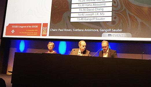 Проф. С.Ю. Анисимова председательствует на сессии по инновациям в хирургии катаракты на XXXIII конгрессе ESCRS в Барселоне (Испания)